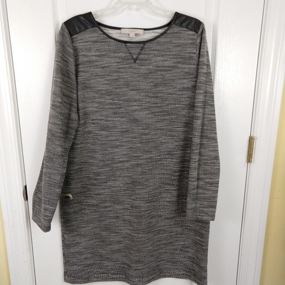 8802ee0c1b LOFT Dresses | Gray Shoulder Patch Long Sleeve Tweed Dress | Poshmark